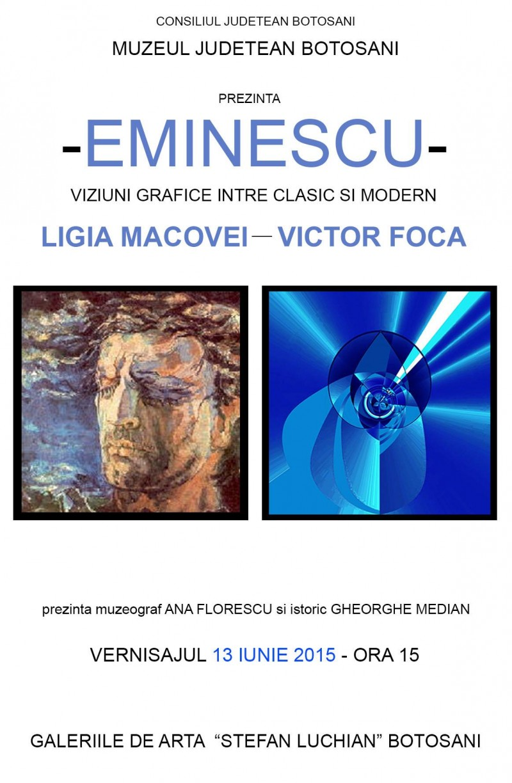 """""""EMINESCU – viziuni grafice între clasic şi modern: Ligia Macovei -Victor Foca"""", la Galeriile Luchian"""