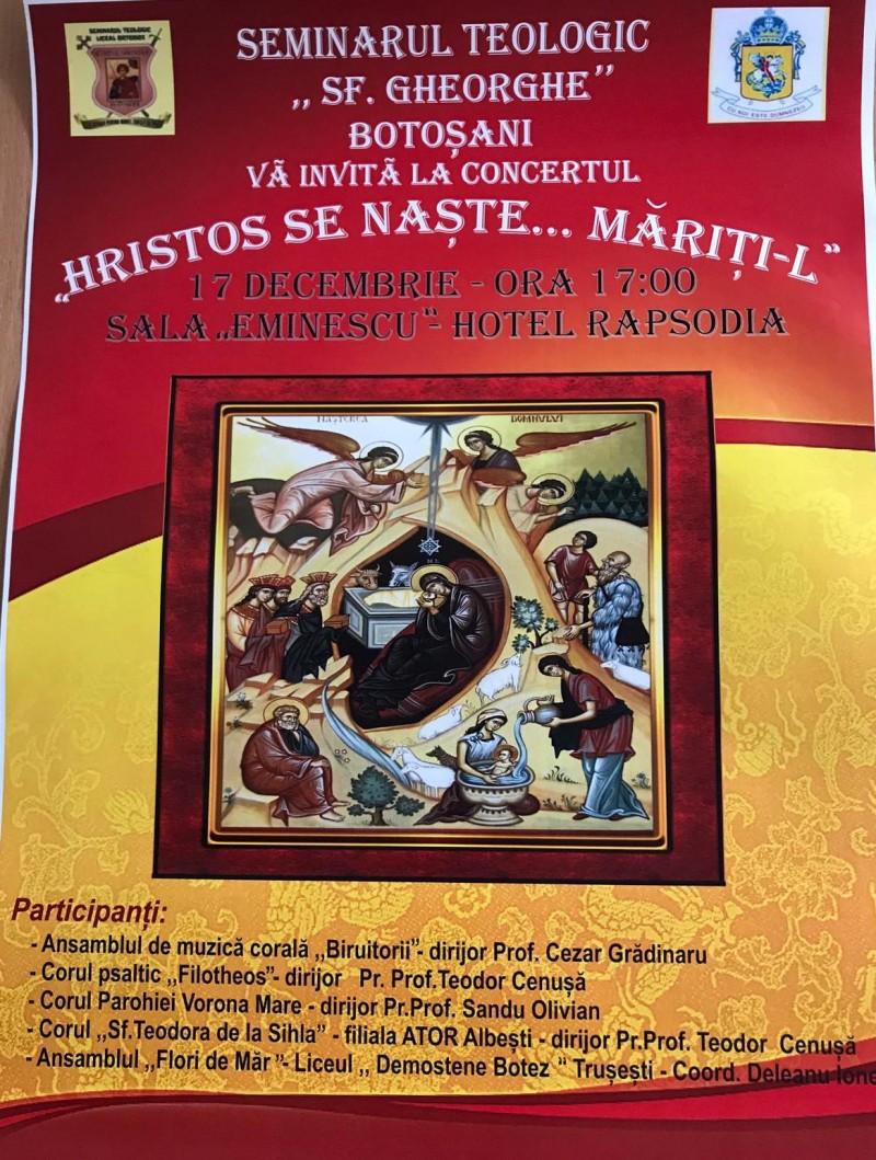 """""""Hristos se naște, măriți-L!"""" : Concert de colinde oferit de Seminarul Teologic """"Sf. Gheorghe"""" Botoșani!"""