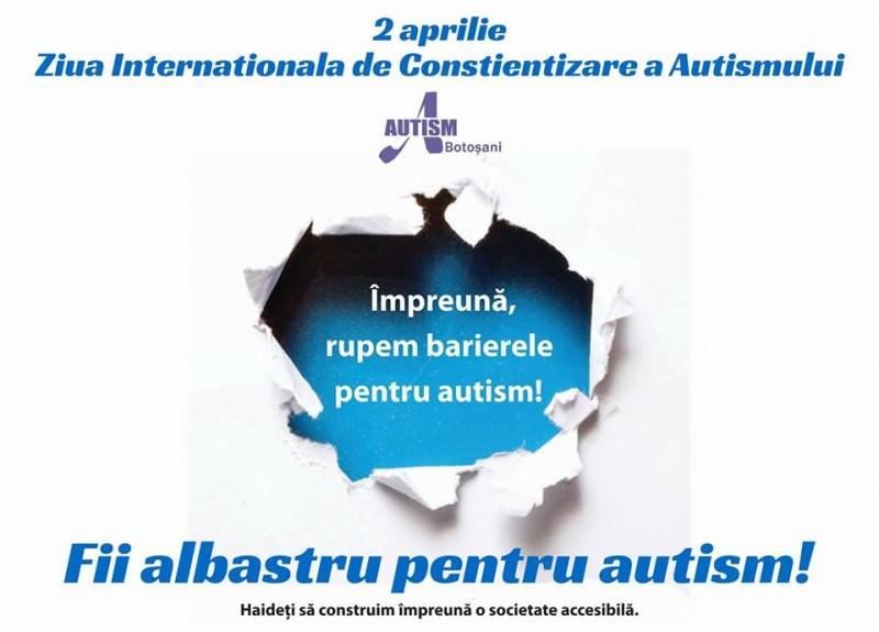 """""""Împreună rupem barierele pentru autism!"""" - Primăria Botoșani va fi, astăzi, albastră!"""