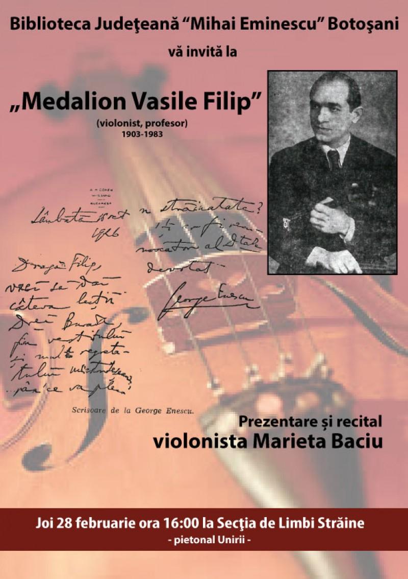 """Medalion Vasile Filip"" - Prezentare si recital Marieta Baciu"