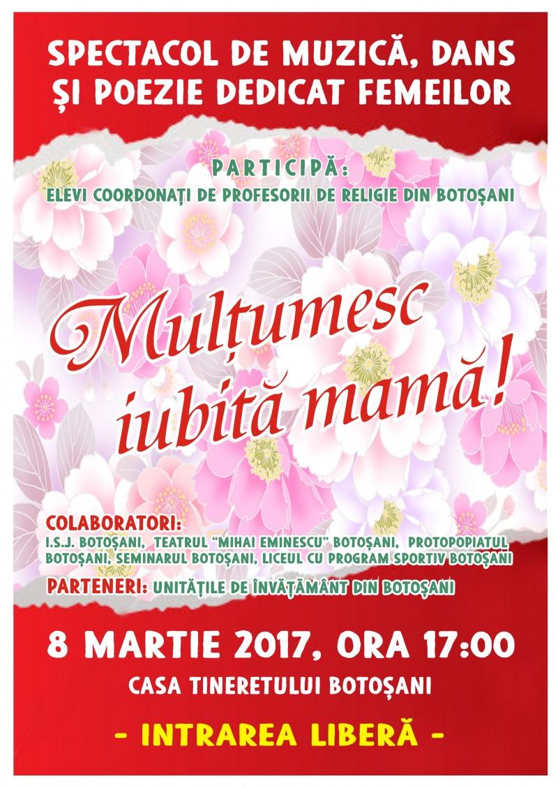 """""""Mulțumesc, iubită mamă!"""" - spectacol dedicat femeilor din Botoșani!"""