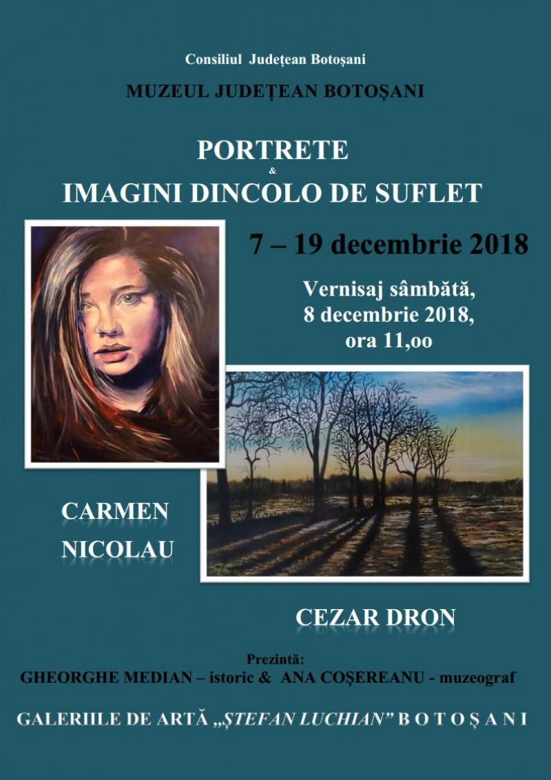 """""""Portrete & Imagini de dincolo de suflet"""", pe simezele Galeriilor de Artă """"Ștefan Luchian"""" Botoșani"""