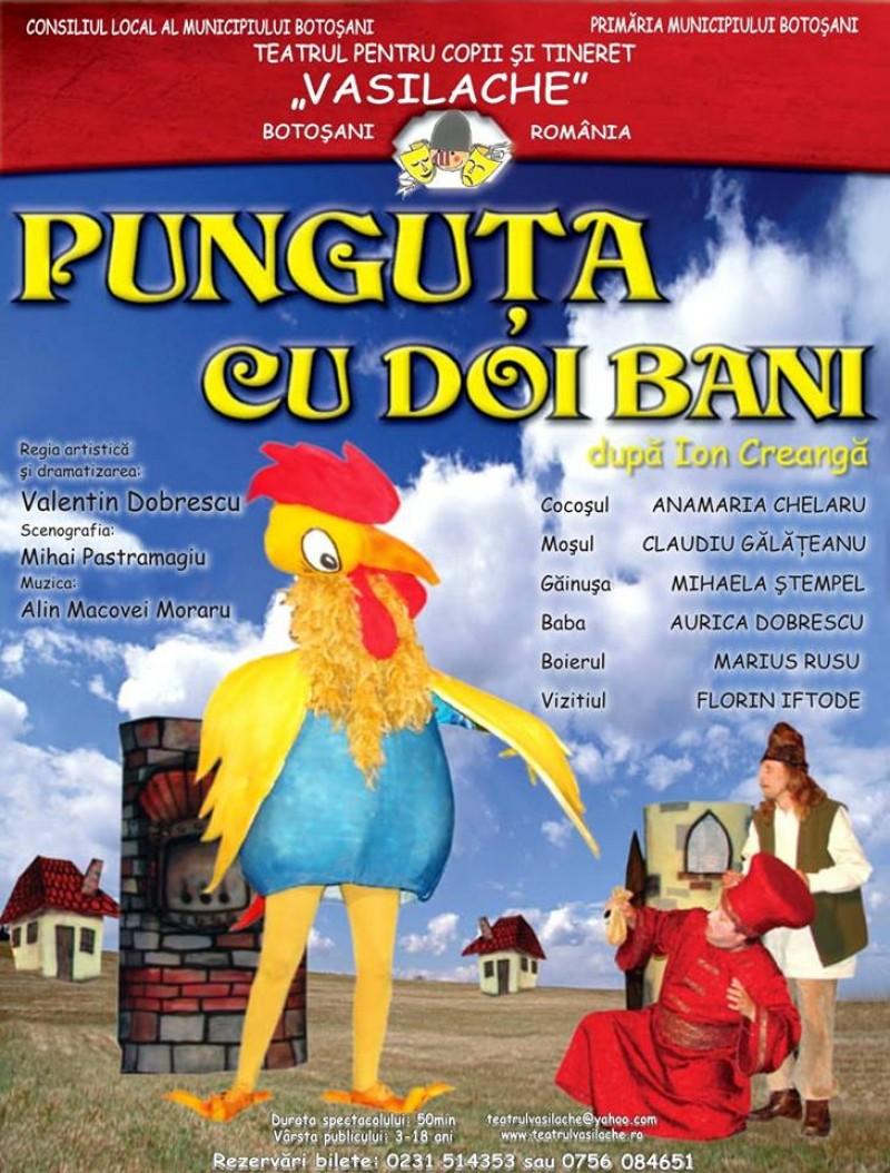 """""""Punguța cu doi bani"""", ultimul spectacol din anul 2018, la Teatrul pentru Copii şi Tineret Vasilache!"""
