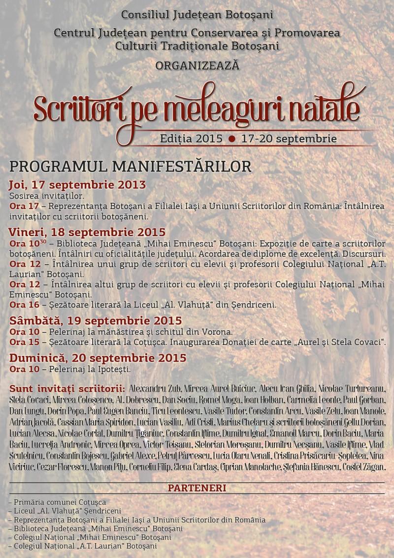 """""""Scriitori pe meleaguri natale"""", ediţia 2015, 17-20 septembrie"""