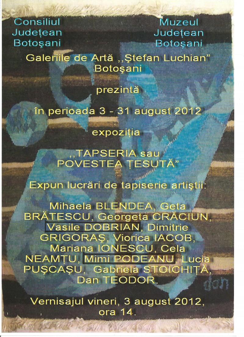 """""""Tapiseria sau povestea tesuta"""", la Muzeul Judetean"""