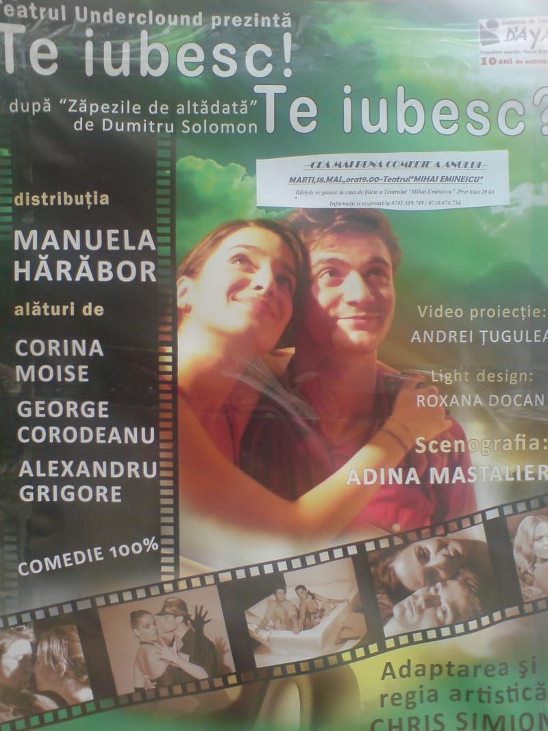 """""""Te iubesc! Te iubesc?"""" cu Manuela Harabor, pe scena Teatrului Eminescu Botosani!"""