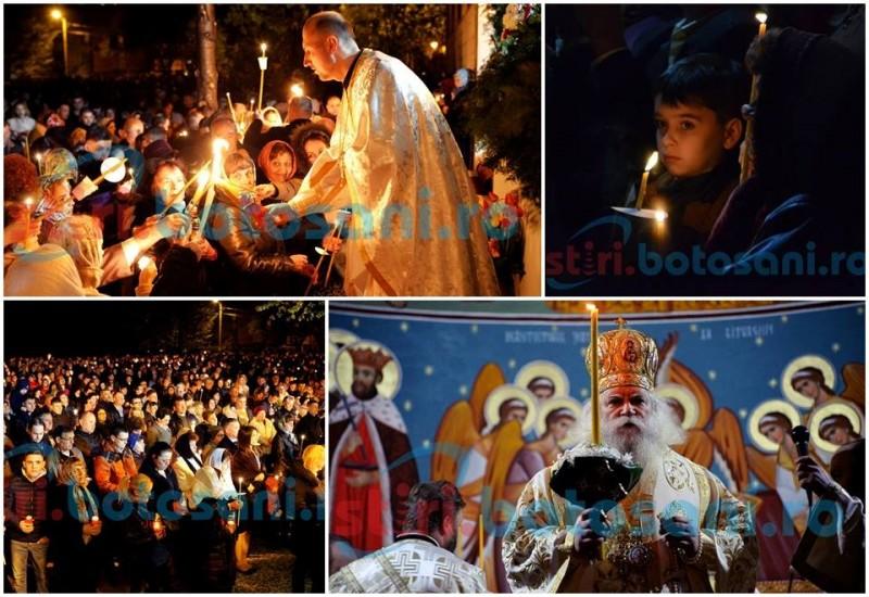 """""""Viaţă dăruindu-ne""""! Slujba de Înviere, urmărită de mii de botoşăneni care au luat lumină! FOTO, VIDEO"""