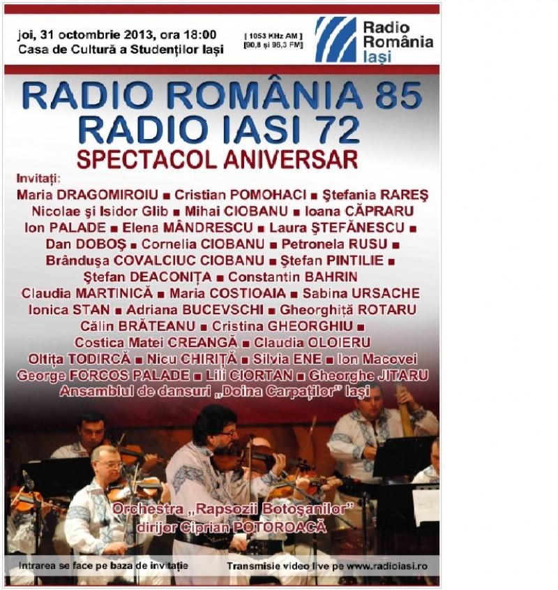 "Radioul romanesc, sarbatorit la Iasi cu Orchestra Populara ""Rapsozii Botosanilor"""