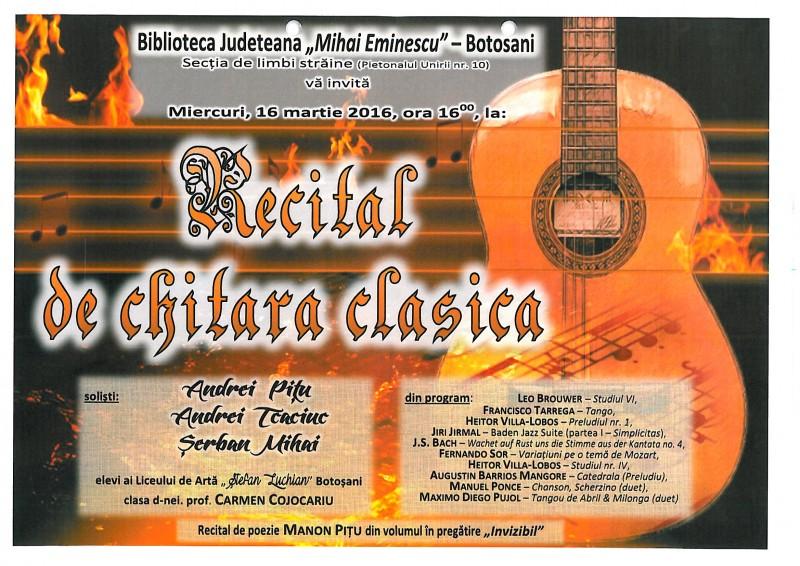 Recital de chitară clasică şi poezie