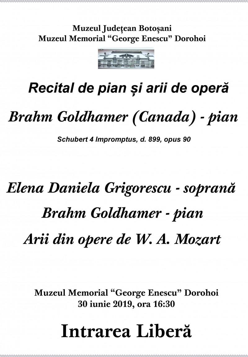 Recital de pian şi arii de operă la Dorohoi. Intrarea este liberă!