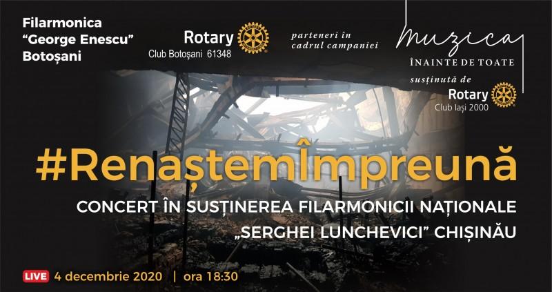 """#RenaștemÎmpreună, un concert caritabil al Filarmonicii """"George Enescu"""" Botoșani, în sprijinul prietenilor de peste Prut"""