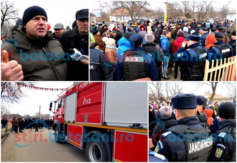 """REVOLTA continuă la Corni: """"Ieșim cu furci și topoare, ca pe timpuri""""! Prefectul, chemat de protestatarii care au fugărit până și pompierii! FOTO, VIDEO"""