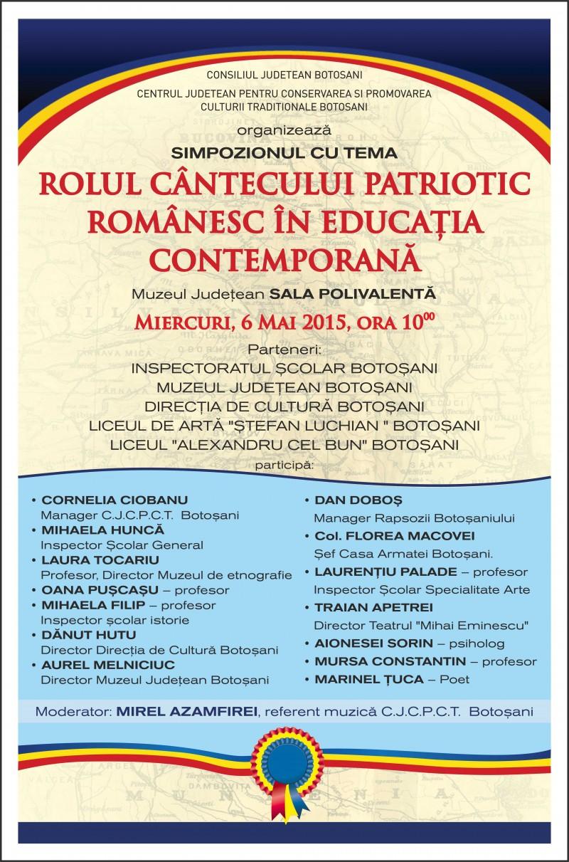 """Rolul cântecului patriotic românesc în educaţia contemportană"""""""