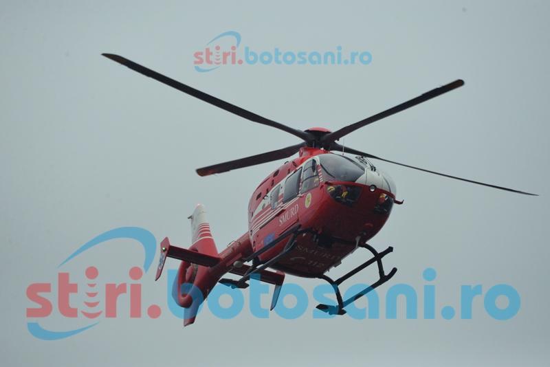 Salvat de telemedicină: Un botoșănean cu infarct, preluat din Ștefănești de elicopterul SMURD!