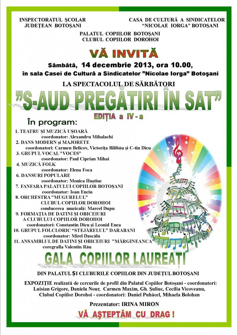 """Sâmbătă, 14 decembrie: Concertul de sărbători """"S-aud pregătiri în sat"""", ediţia a IV-a"""