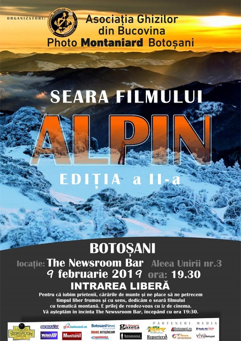 Sâmbătă, 9 februarie: Seara Filmului Alpin la Botoșani