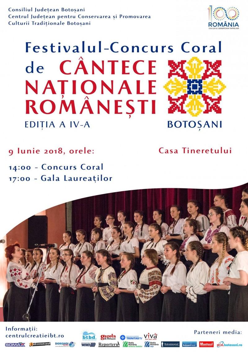 Sâmbătă, la Botoșani: Ediția a IV-a a Festivalului-Concurs Coral de Cântece Naţionale Româneşti