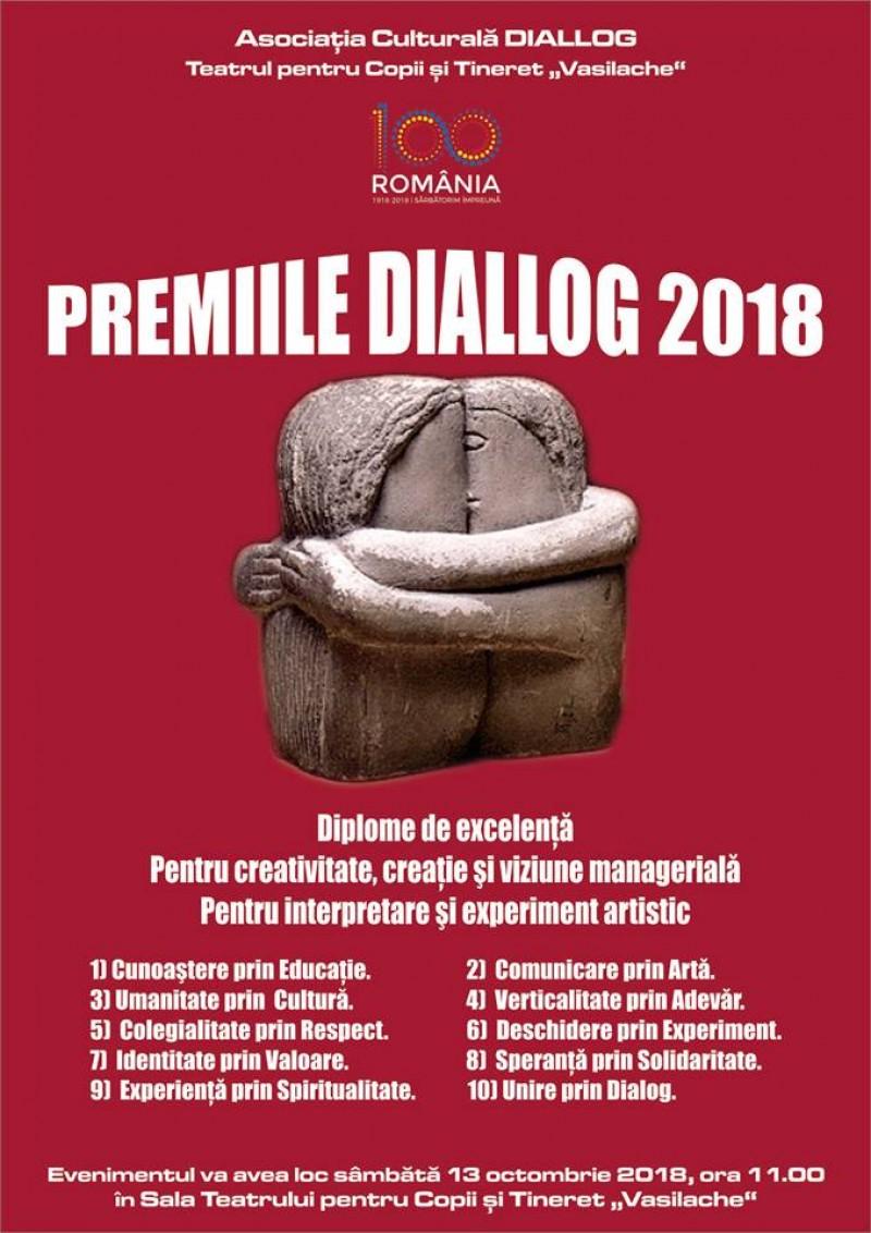 """Sâmbătă, la Teatrul pentru Copii şi Tineret """"Vasilache"""" Botoşani: Ceremonia decernării Premiilor """"DIALLOG 2018"""""""