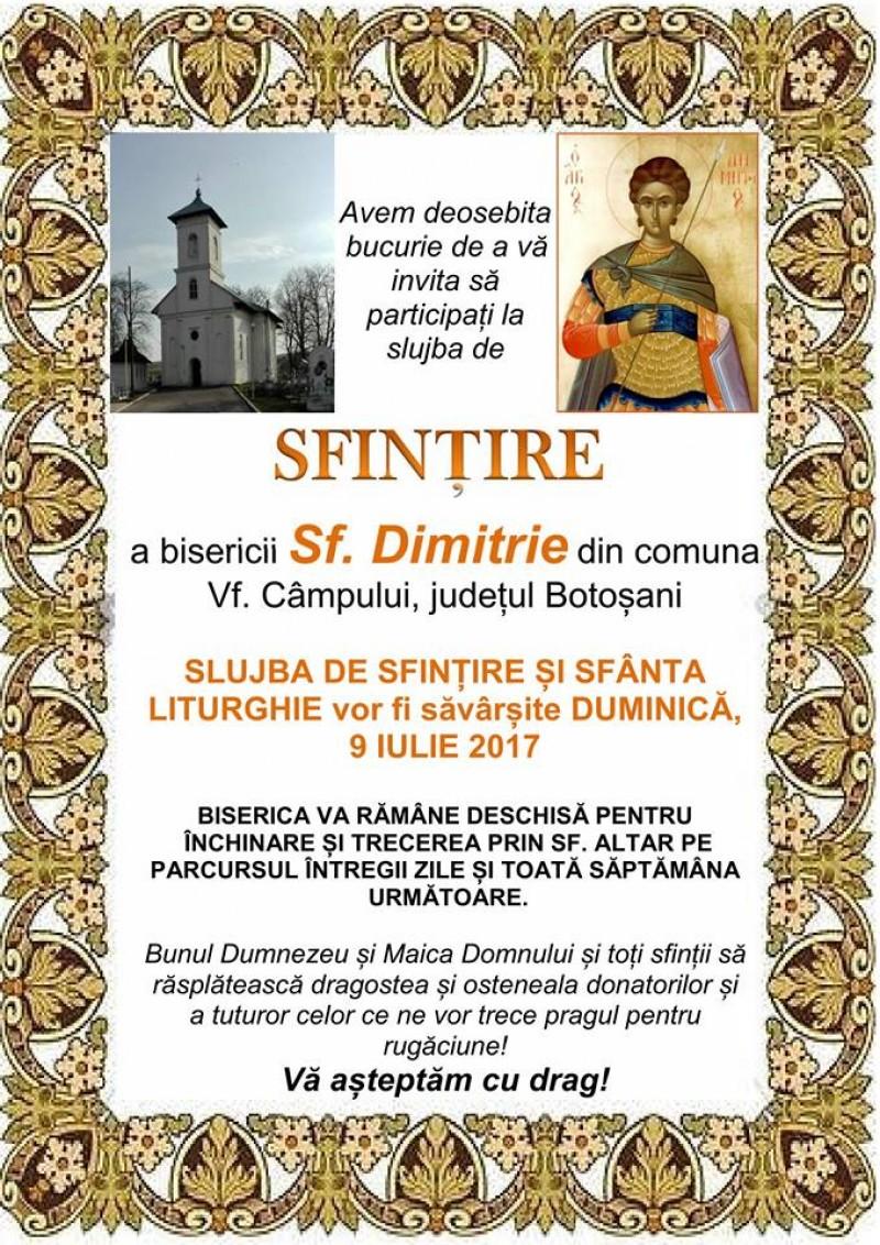 """Sărbătoare creștină în parohia """"Sfântul Mare Mucenic Dimitrie"""" din Vârfu Câmpului!"""
