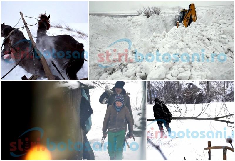 Sat izolat de troiene de peste doi metri înalțime! 15 familii din Balta Roșie duc o iarna grea, la lumina lămpii! FOTO