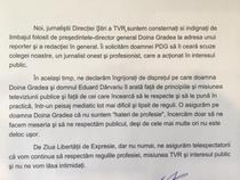 Scrisoare de solidarizare a ziariștilor din TVR, după înregistrările publicate de Dragoș Pătraru: Nu ne vom lăsa intimidați