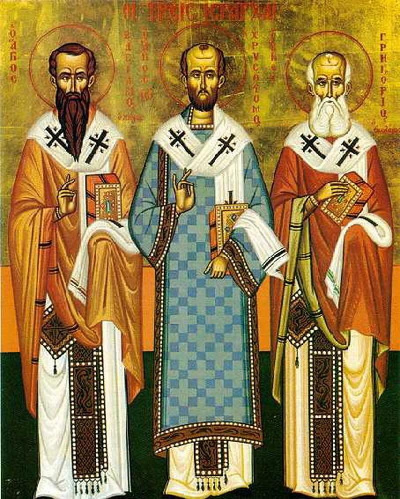 Sfintii Trei Ierarhi: Vasile cel Mare, Grigorie de Nazianz si Ioan Gura de Aur