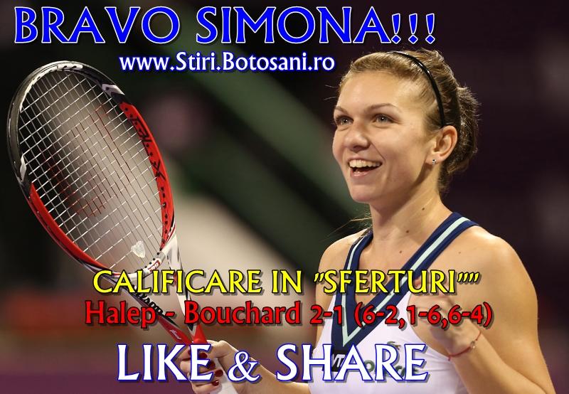 Simona Halep a caştigat meciul cu Eugenie Bouchard şi s-a calificat în sferturi la Indian Wells
