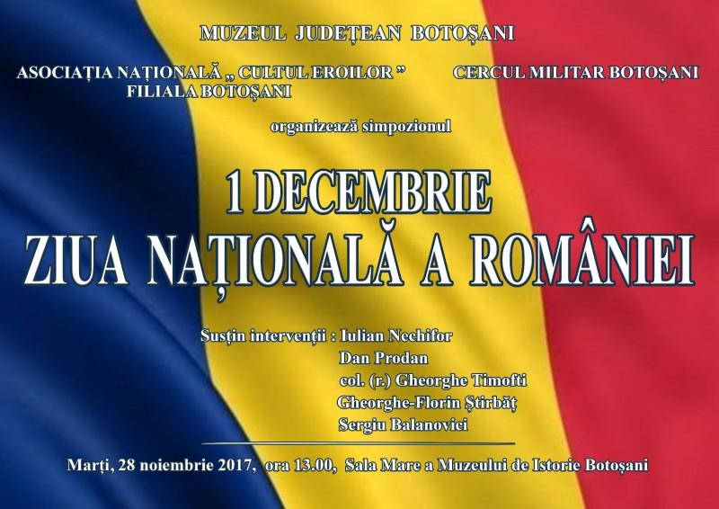 """Simpozionul """"1 Decembrie – Ziua Naţională a României"""", la Muzeul Județean Botoșani"""