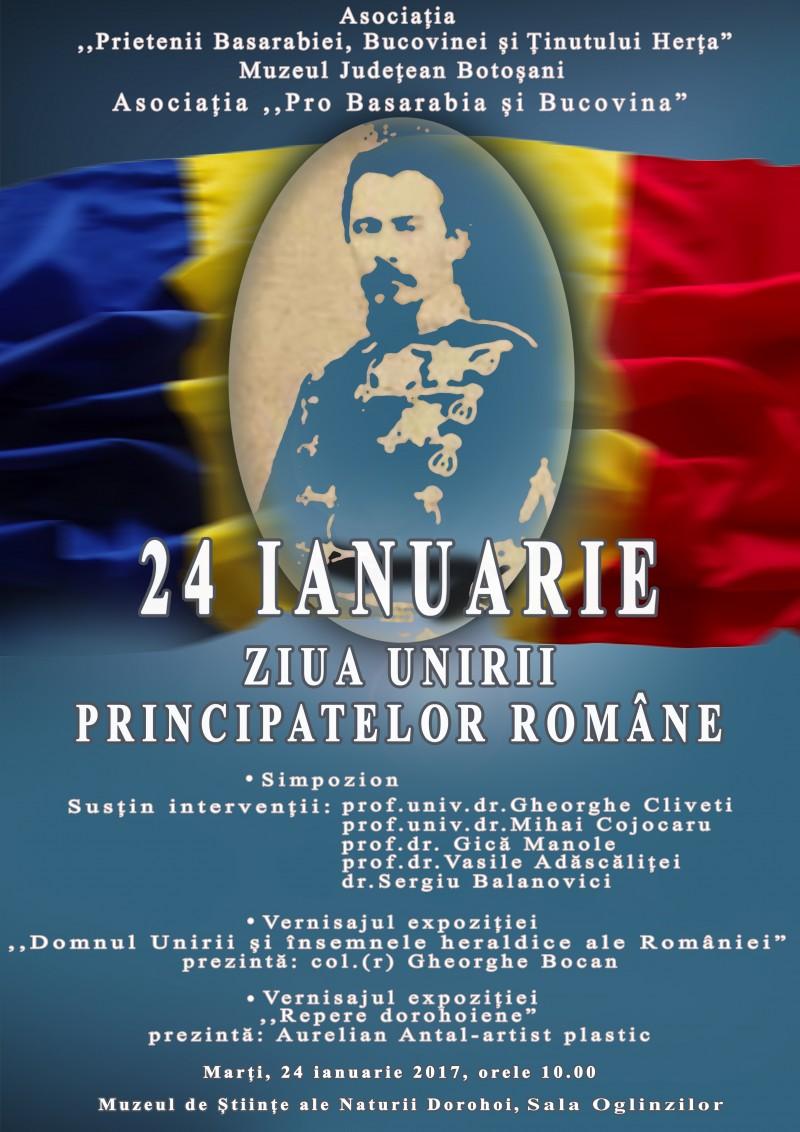 """Simpozionul """"24 Ianuarie – Ziua Unirii Principatelor Române"""", la Dorohoi!"""