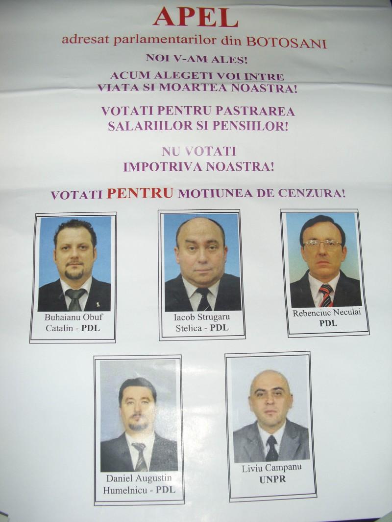 Sindicalistii fac apel la parlamentarii botosaneni PDL si UNPR!