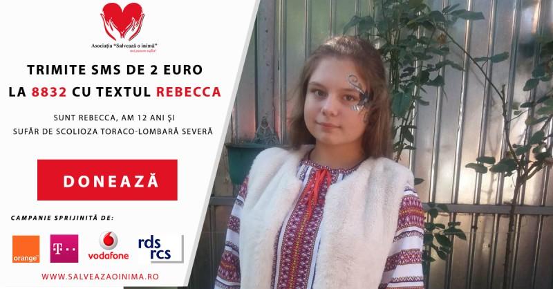 """SMS de 2 Euro la 8832 cu textul """"Rebecca"""": Zambetul unui copil va fi redat datorita dumneavoastra! Un simplu SMS îi poate salva viața!"""