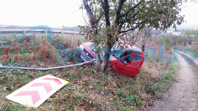 Șofer rănit după ce a rupt un indicator rutier și a ajuns într-un copac, pe drumul Botoșani-Suceava! FOTO