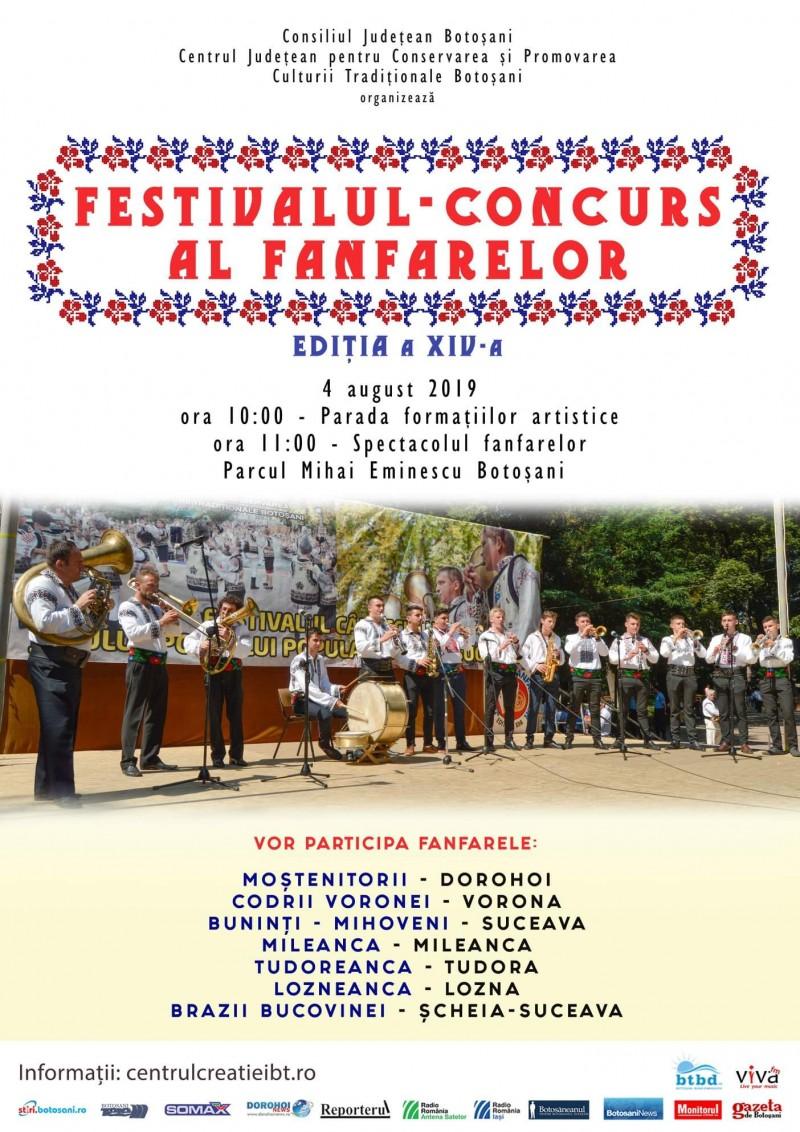 Spectacol cu șapte fanfare din județ și din Suceava, în municipul Botoșani