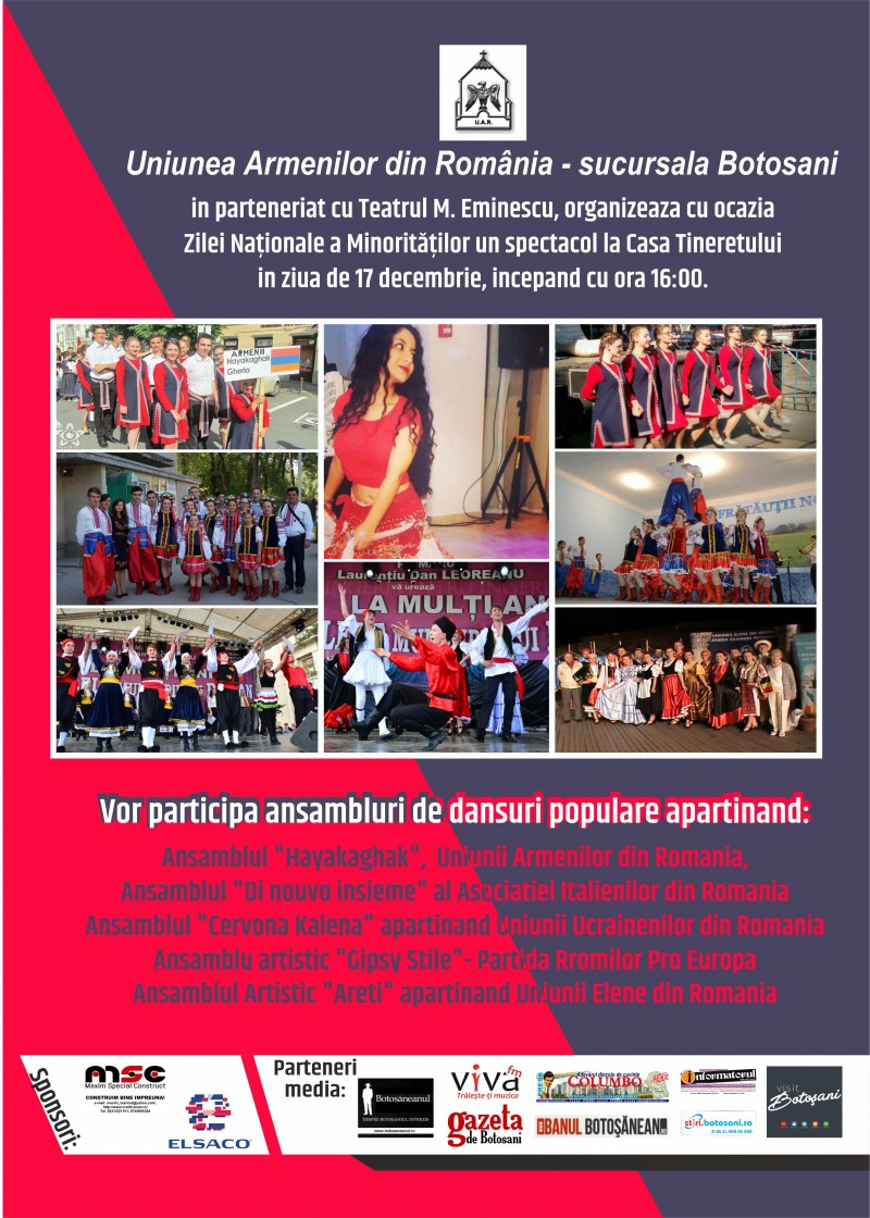 Spectacol dedicat Zilei Naționale a Minorităților, duminică, la Botoșani!