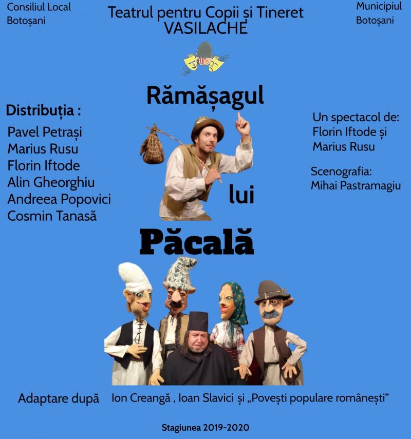 """Spectacol pentru cei mici, în această săptămâna, la Teatrul """"Vasilache"""""""