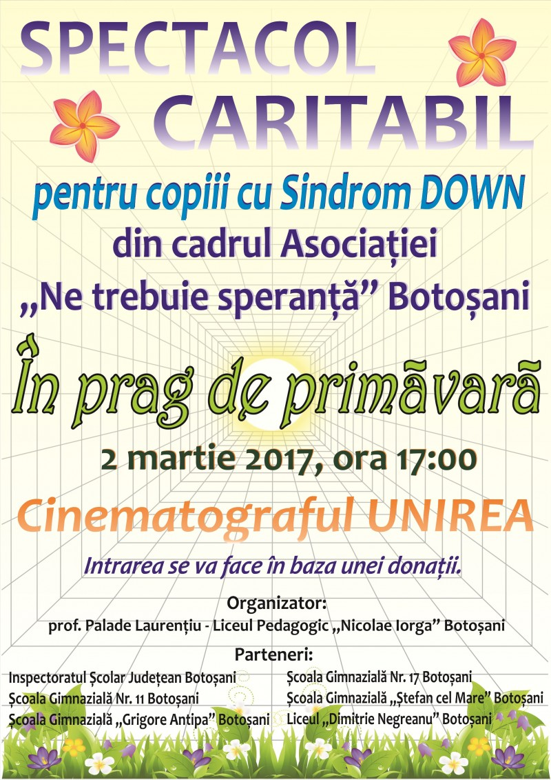Spectacole de caritate pentru copiii cu sindrom Down din Botoșani!