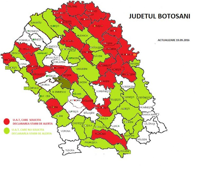 Stare de alertă pentru 24 de comune și două orașe din județul Botoșani!