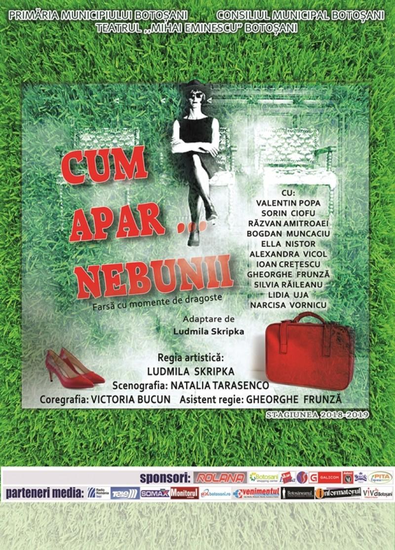 """Teatrul """"Mihai Eminescu"""" le pregătește o farsă botoșănenilor: """"Cum apar... Nebunii!"""""""