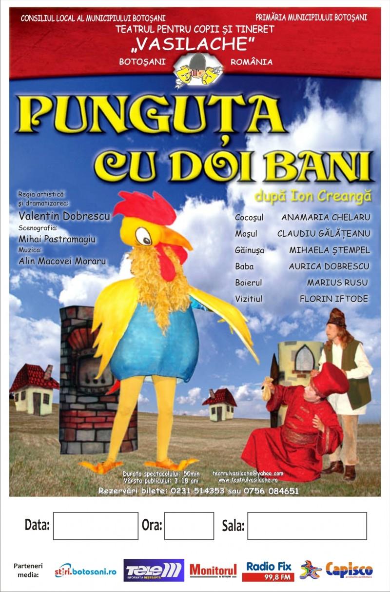 """Teatrul pentru Copii și Tineret """"Vasilache"""" duce """"Punguța cu doi bani"""" în festival"""