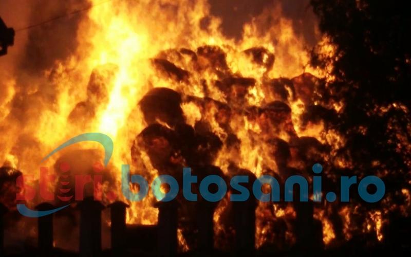 Tone de fân mistuite într-un incendiu la Havârna