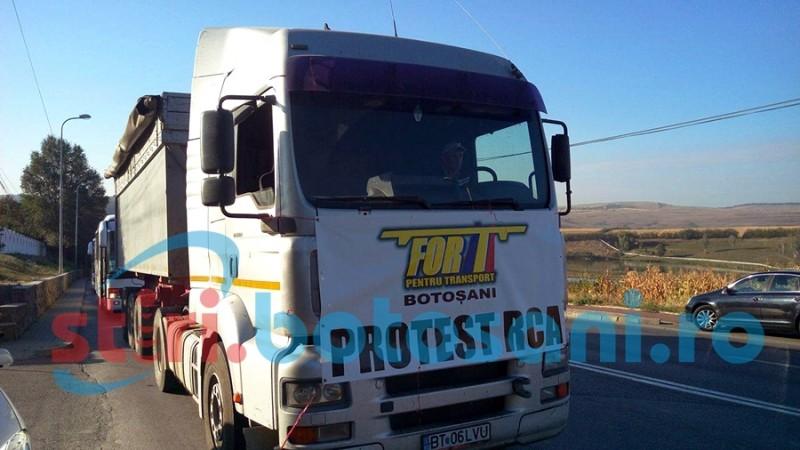 TRAFIC îngreunat, în municipiul Botoșani, de protestul transportatorilor! Peste 100 de mașini, camioane si autocare! FOTO, VIDEO