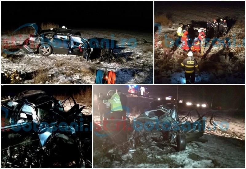 Tragedie pe drumul Botoşani- Iaşi! Un tanar a murit după ce a zburat cu maşina sub un pod! FOTO, VIDEO