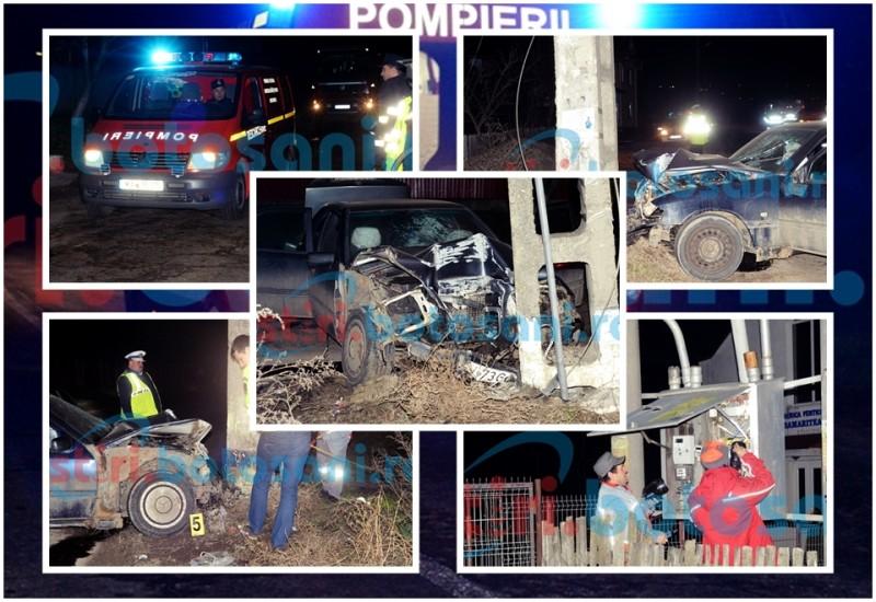 Un șofer vitezoman și-a băgat prietenii în spital, după ce a intrat cu mașina într-un stâlp, pe care l-a rupt! FOTO, VIDEO