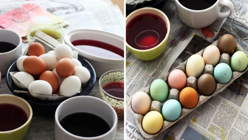 UTIL: Cum vopsiți ouăle natural, cu doar câteva ingrediente din bucătărie!