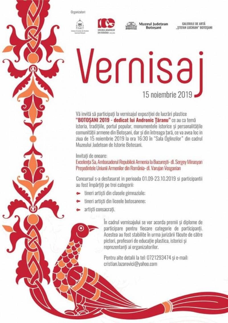 Vernisaj organizat de Uniunea Armenilor dedicat lui Andronic Țăranu, la Botoșani