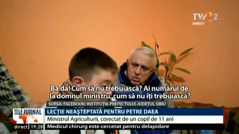 VIDEO - Lecție neașteptată pentru Petre Daea. Ministrul Agriculturii, corectat de un băiețel de 11 ani