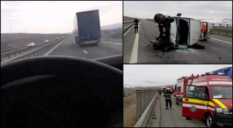VIDEO - LIVE pe Facebook, cu 140 km/h. Microbuzul plin cu români care veneau din străinătate s-a răsturnat