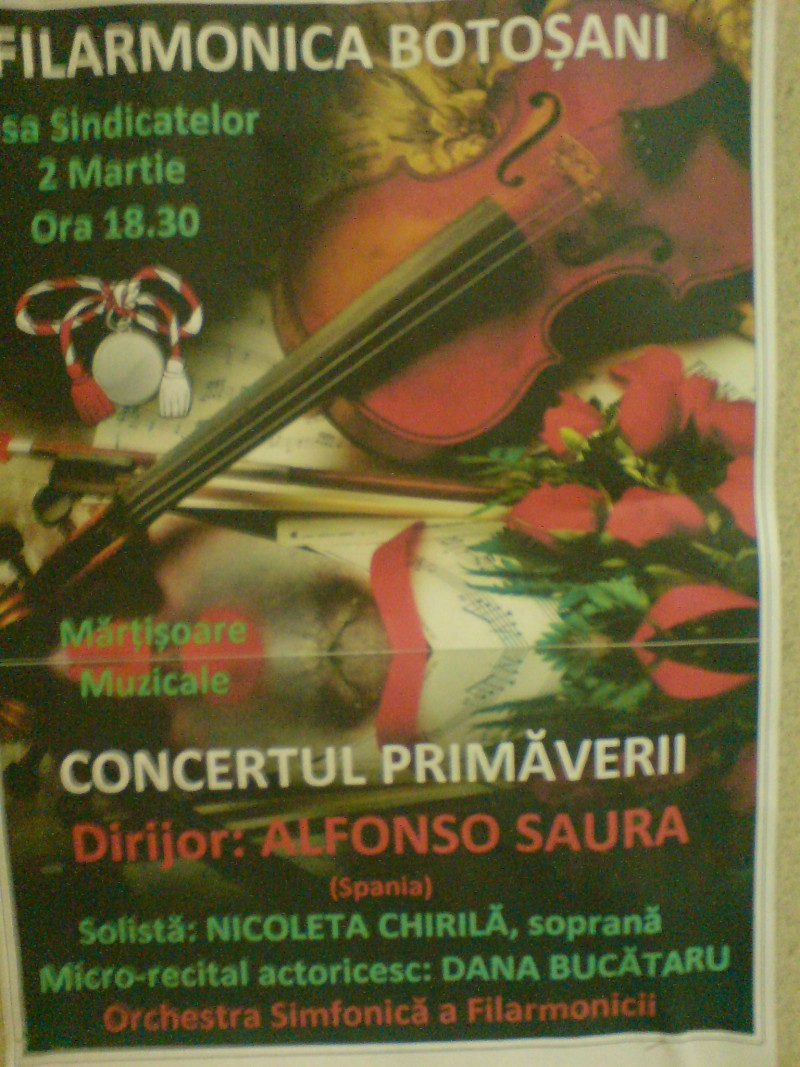 VINERI, 2 martie: CONCERTUL PRIMĂVERII la Filarmonica Botoşani VIDEO