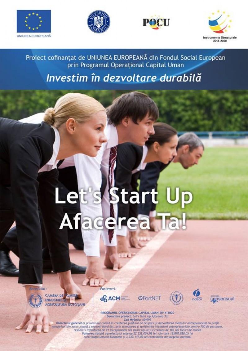 """Vineri, la Dorohoi: Conferință de informare în cadrul proiectului """"Let's Start Up Afacerea Ta!"""""""