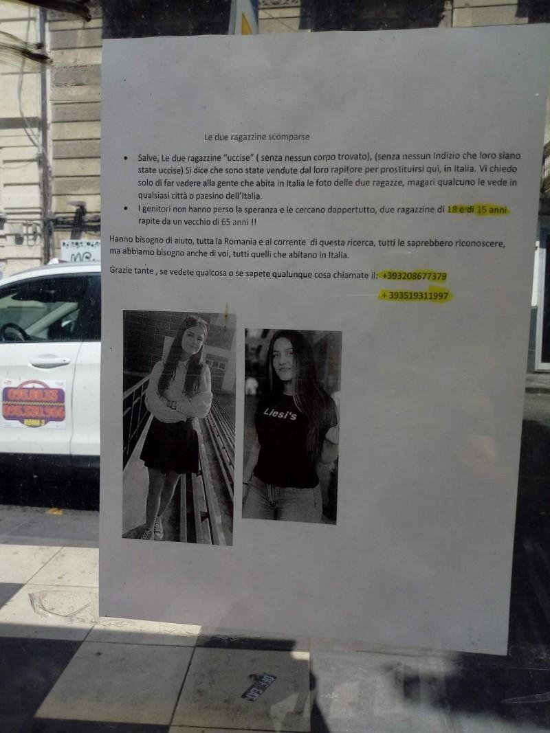 VIRAL: Italieni rugați să ajute la găsirea fetelor dispărute în Caracal. Ideea aparține unor românce